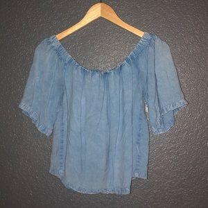Tops - light blue off the shoulder flowy shirt size M
